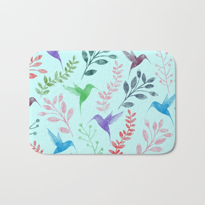 Watercolor Floral & Birds III Bath Mat