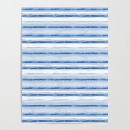 Watercolor Silent Sea Blue Stripes Poster