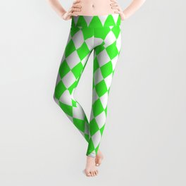 Bright Neon Green and White Harlequin Diamond Check Leggings