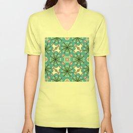 Floral Lattice Unisex V-Neck
