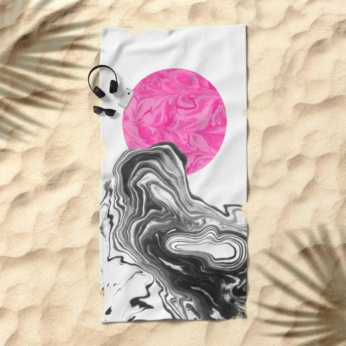 Iniko - spilled ink abstract japanese watercolor painting minimal modern black and white marble  Beach Towel