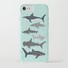 Sharks nature animal illustration texture print marine biologist sea life ocean Andrea Lauren iPhone Case