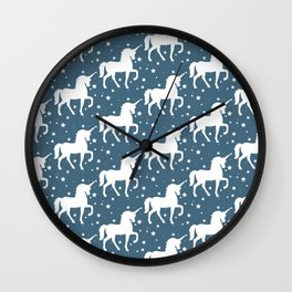 Blu Teal Unicorn and Stars Pattern Wall Clock