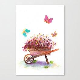 Flowers Cart Watecolor Canvas Print