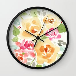 Suede Roses Wall Clock