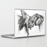 elephants Laptop & iPad Skins featuring elephants by Lyudmila Kuguk