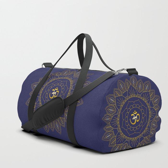 Om Symbol and Mandala in Spiritual Gold Purple Blue Violet Duffle Bag