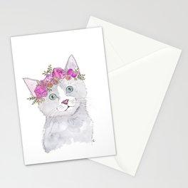 Kitten Flower Crown Watercolor Stationery Cards