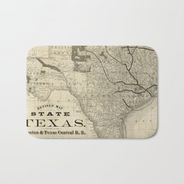 Old Map of Texas 1876 Vintage Wall map Restoration Hardware Style Map Bath Mat