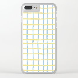 Pastel yellow teal watercolor geometrical checker stripes Clear iPhone Case