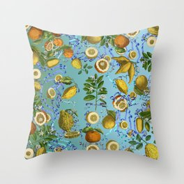 vintage lemons and oranges on ribbons of blue Throw Pillow