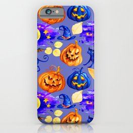 Halloween Jack-O-Lanterns and Cats Pattern iPhone Case
