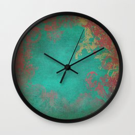 Grunge Garden Canvas Texture:  Pink and Turquoise Floral Wall Clock