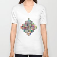 quilt V-neck T-shirts featuring Pattern Quilt by Cina Catteau