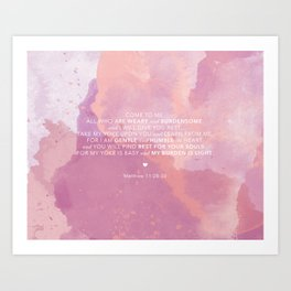 Come To Me | Pink Watercolor Reverse (for Lyndsie Brooker) Art Print