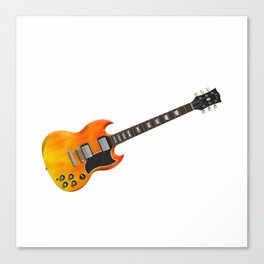 Guitar With Fire Graphics Canvas Print