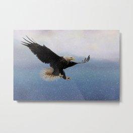 Snowy Flight - Bald Eagle Metal Print