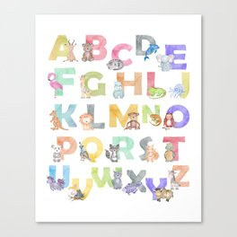 Watercolor Alphabet Animals Canvas Print