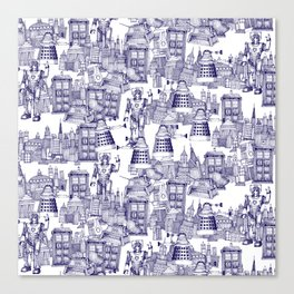 Doctor Who Toile de Jouy | 'Walking Doodle' | Blue Canvas Print