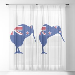 New Zealand Flag With Kiwi SIlhouette Sheer Curtain