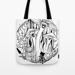 The Singing Mushrooms & The Zebra Cat Tote Bag