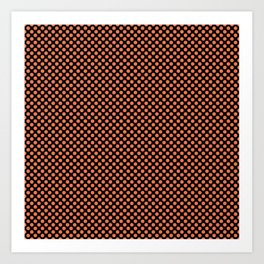 Black and Coral Rose Polka Dots Art Print