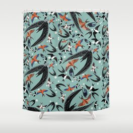 Swallows Martins and Swift pattern Turquoise Shower Curtain
