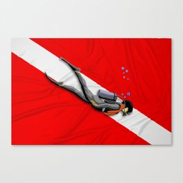 Diver And Dive Flag Canvas Print