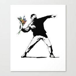 Banksy Flowers Flower thrower Canvas Print