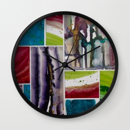 Painted tiles collage Wall Clock