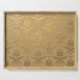 Gold Metallic Damask Beige Serving Tray