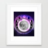 moon phase Framed Art Prints featuring Moon Phase by Fantastikat