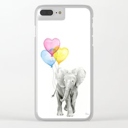Elephant Watercolor with Balloons Rainbow Hearts Baby Whimsical Animal Nursery Prints Clear iPhone Case