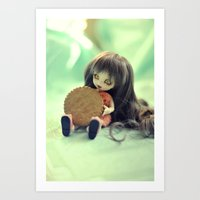 cookie monster Art Prints featuring Cookie Monster  by Aleksandra Piątkowska