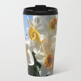 Sunny Faces of Spring - Gold and White Narcissus Flowers Travel Mug