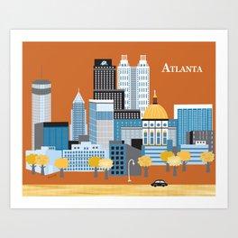 Atlanta, Georgia - Skyline Illustration by Loose Petals Art Print