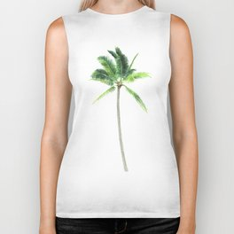 Watercolor palm tree print Biker Tank
