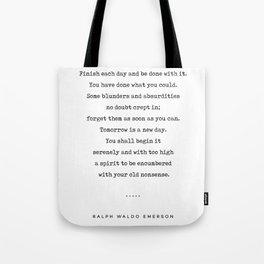 Ralph Waldo Emerson Quote 01 - Minimal, Sophisticated, Modern, Classy Typewriter Print - Motivation Tote Bag