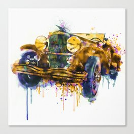 Oldtimer Automobile Watercolor Painting Canvas Print