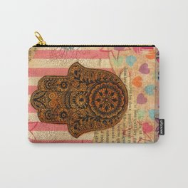 Hearts and Butterfly Hamsa Carry-All Pouch