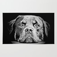 rottweiler Area & Throw Rugs featuring Rottweiler Drawing By Annie Zeno by Annie Zeno