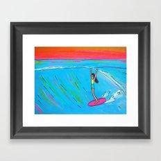 inspirational lady slide rell sunn surf art Framed Art Print