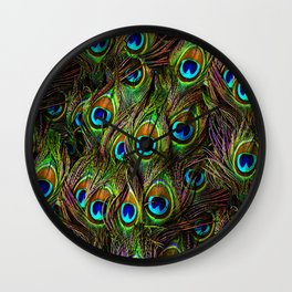 Peacock Feathers Invasion - Wave Wall Clock