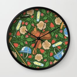Polo helmet and saddle among red strawberries and champagne Wall Clock