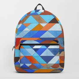 Triangle Pattern no.18 blue and orange Backpack