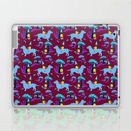 Gnome & Dachshund in Mushroom Land, Teal Background Laptop & iPad Skin