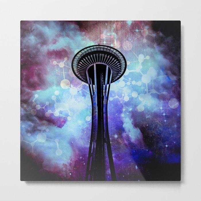 Space Needle - Seattle Stars Clouds Fog Metal Print