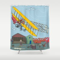 aviation Shower Curtains featuring First Flight 1903 by Magnetic Boys