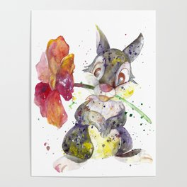 Thumper With Flower Poster