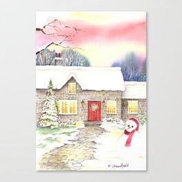 Snowy Cottage Canvas Print